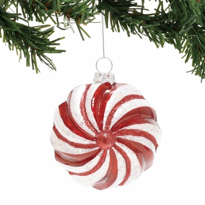 Department 56 Snowbabies - Red And White Ball Ornament 2018