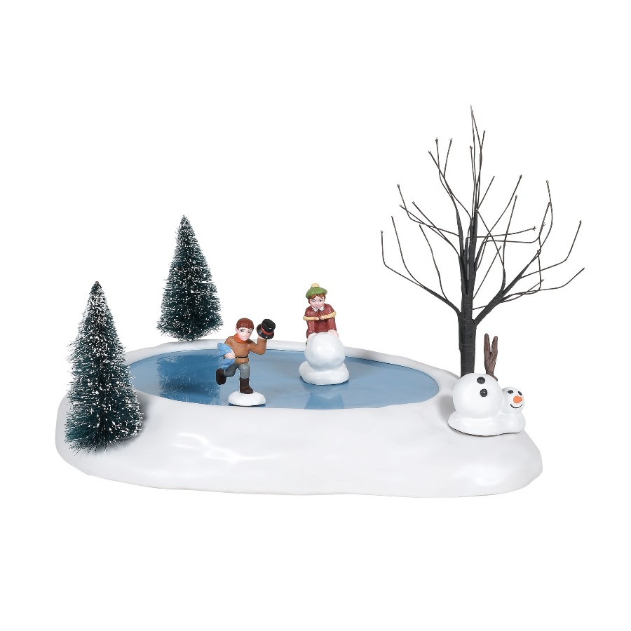 Department 56 Village Accessory - Building A Snowman - Animated 2020