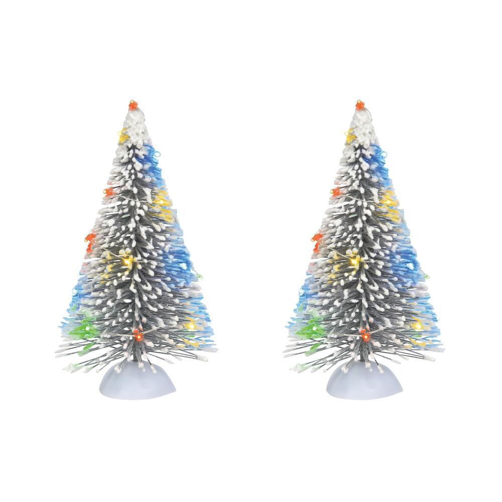 Department 56 Village Accessory - Lit Frosted White Sisal Tree Set of 2 2021