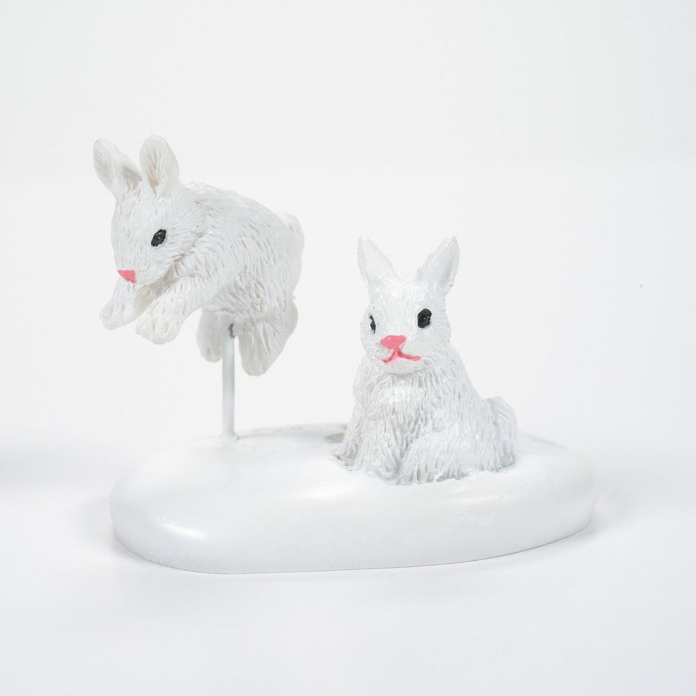 Department 56 Village Accessory - White Christmas Bunnies 2021