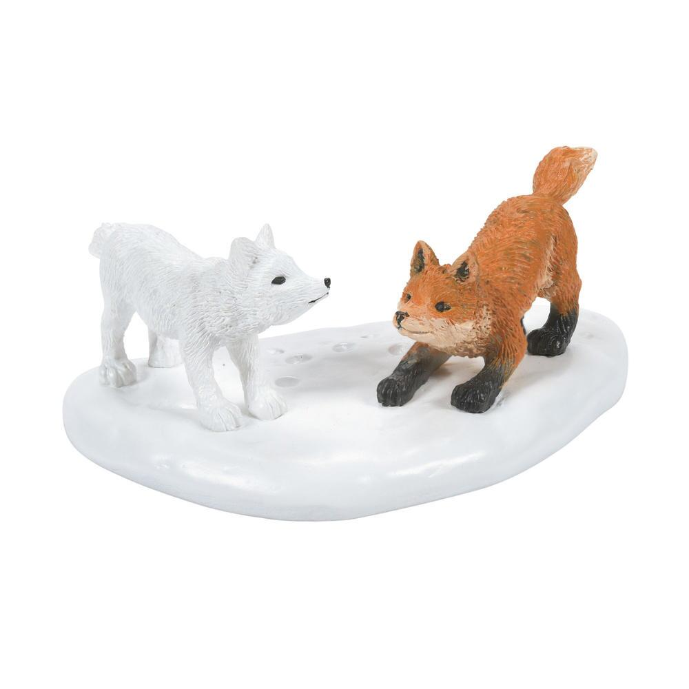 Department 56 Village Accessory - White Christmas Fox Face Off 2021