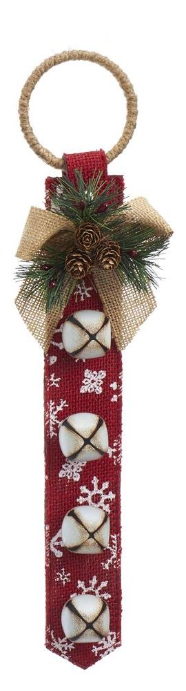 Door Hanger with Bells - Red with White Snowflake - 16in