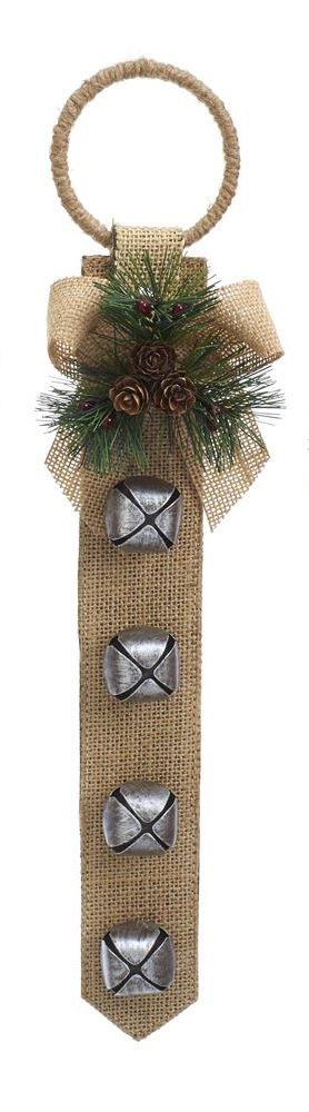 Door Hanger with Bells - Tan Burlap - 16in