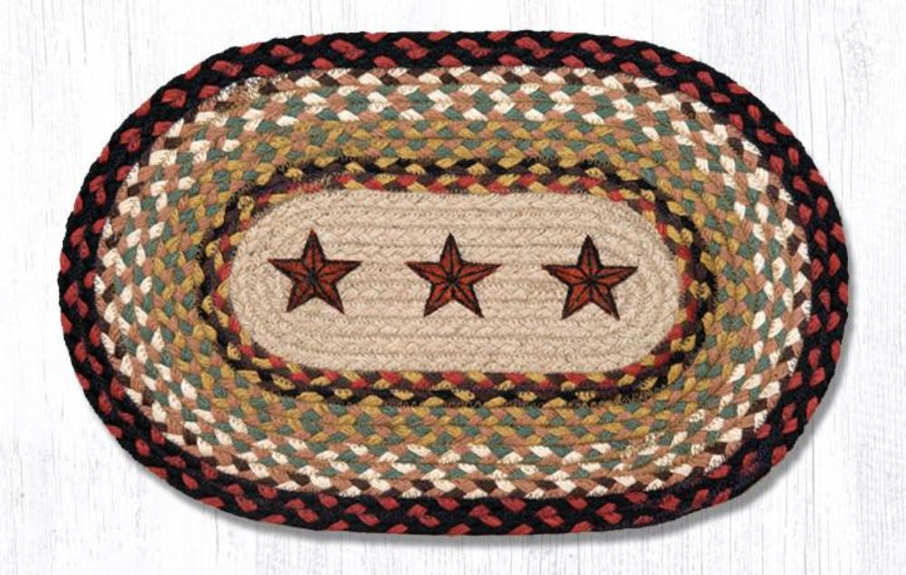 Earth Rug - Braided Mini Oval - Barn Stars - 10x15