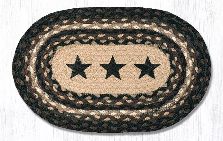 Braided Placemat - Small - Black Stars - 10in x 15in