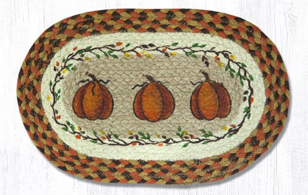Braided Placemat - Small - Harvest Pumpkin - 10in x 15in