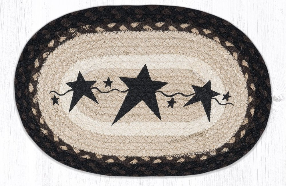 Earth Rug - Braided Mini Oval - Primitive Black Stars - 10x15