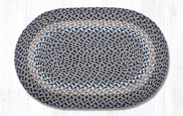 Earth Rug - Braided Oval - Blue/Natural - 20x30