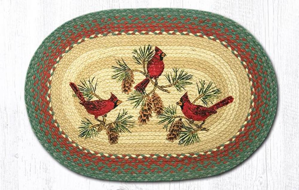 Earth Rug - Braided Jute Oval Rug -  Cardinals - 20in x 30in