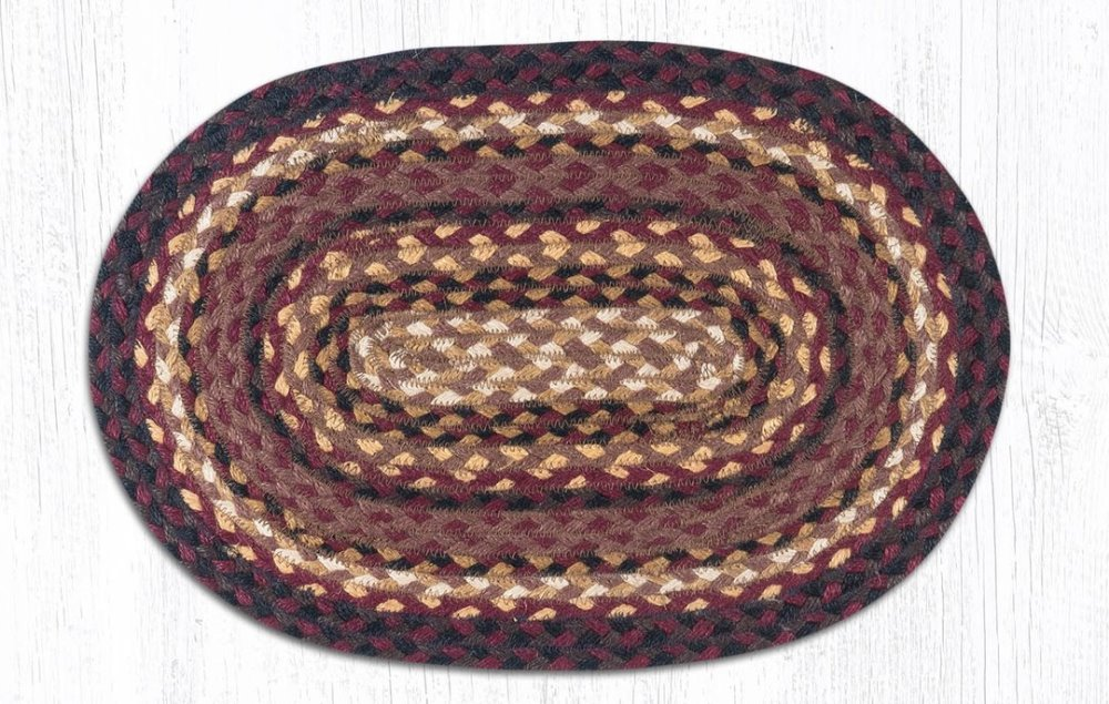 Earth Rug - Braided Oval Placemat - Cherry/Chocolate/Cream - 13x19