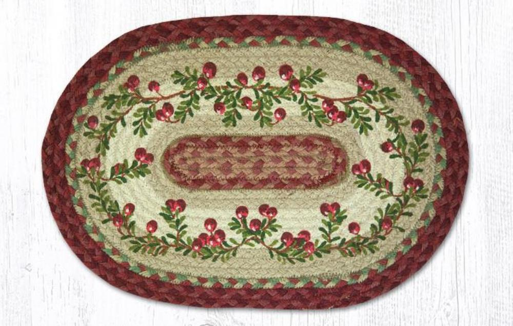 Earth Rug - Braided Oval Placemat - Cranberries - 13x19
