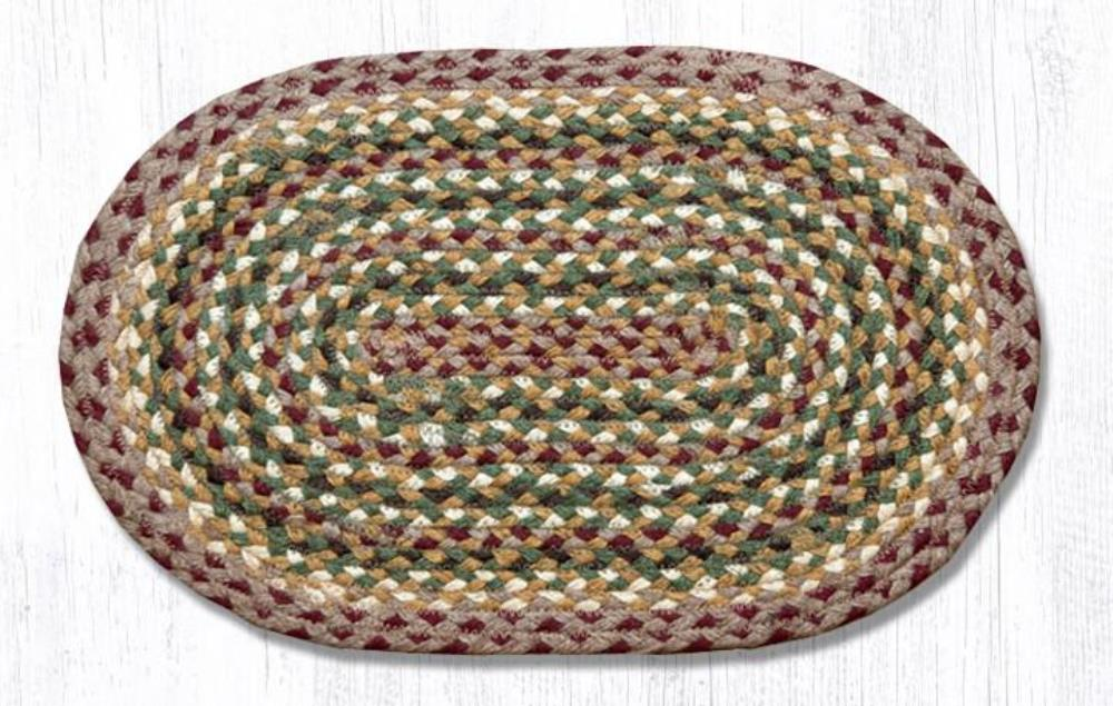 Earth Rug - Braided Oval Placemat - Olive/Burgundy/Cream - 13x19
