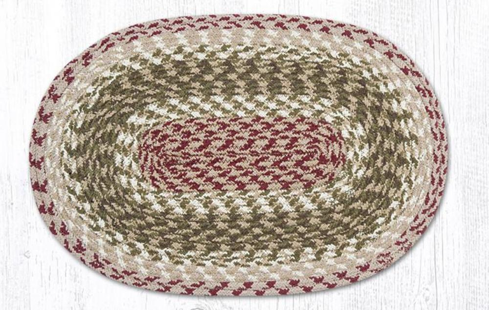 Earth Rug - Braided Oval Placemat - Olive/Burgundy/Gray - 13x19