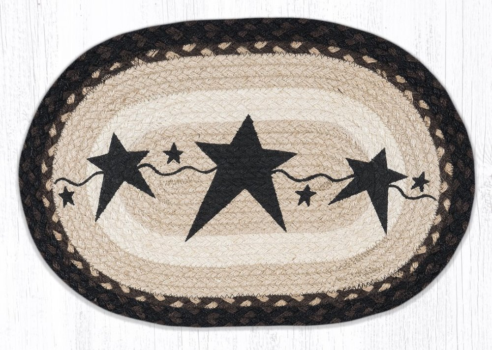 Earth Rug - Braided Oval Placemat - Primitive Black Star - 13x19