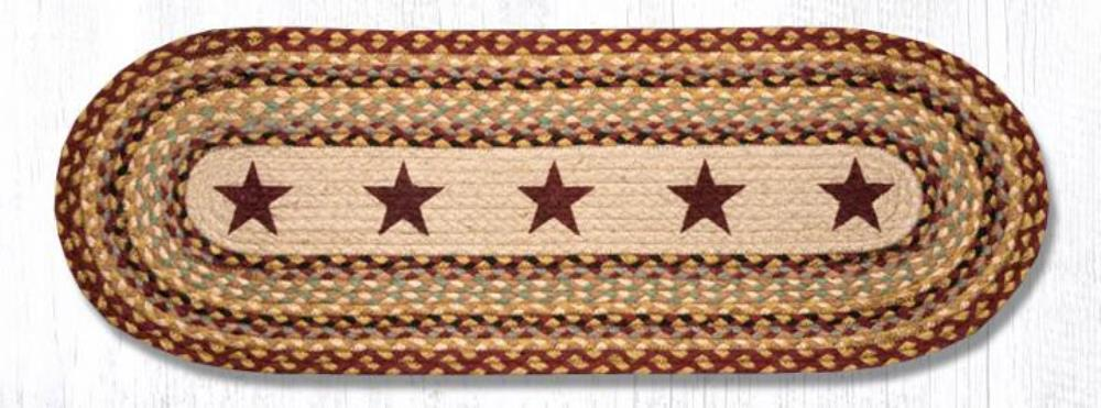 Earth Rug - Braided Oval Table Runner  - Burgundy Stars - 13x36