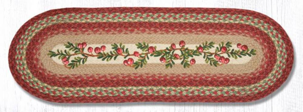 Earth Rug - Braided Oval Table Runner  - Cranberries - 13x36