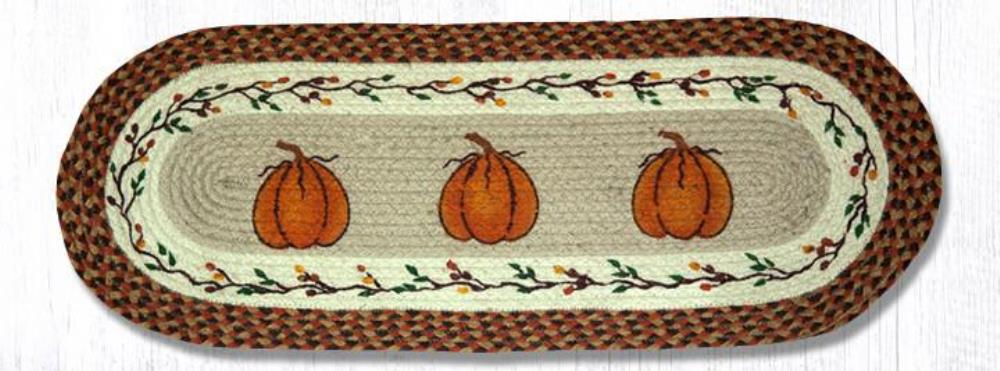 Earth Rug - Braided Oval Table Runner  - Harvest Pumpkins - 13x36