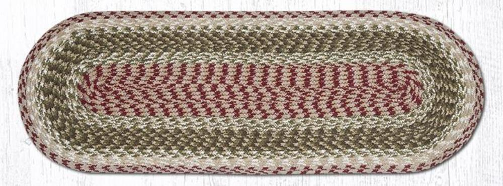 Earth Rug - Braided Oval Table Runner  - Olive/Burgundy/Gray - 13x36