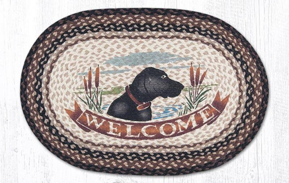 Earth Rug - Braided Oval - Welcome Black Lab - 20x30