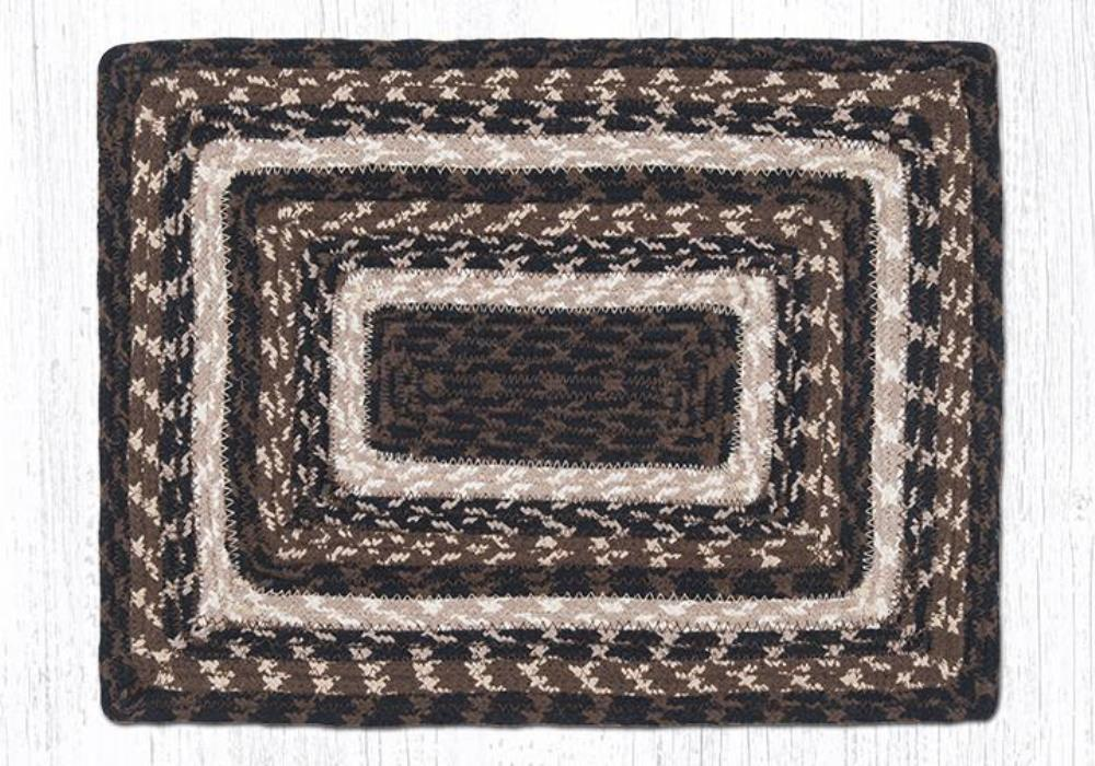 Earth Rug - Braided Rectangular Placemat - Mocha/Frappuccino - 13x19