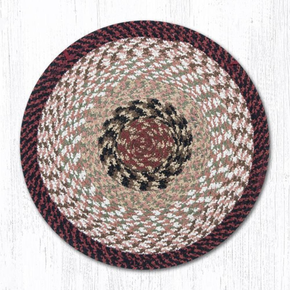 Earth Rug - Braided Round Chair Pad - Burgundy/Mustard - 15.5in