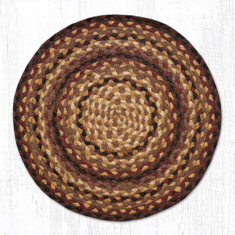Earth Rug - Braided Round Chair Pad - Cherry/Chocolate/Cream - 15.5in