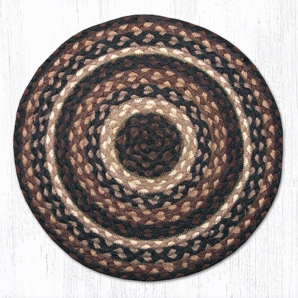 Earth Rug - Braided Round Chair Pad - Mocha/Frappuccino - 15.5in