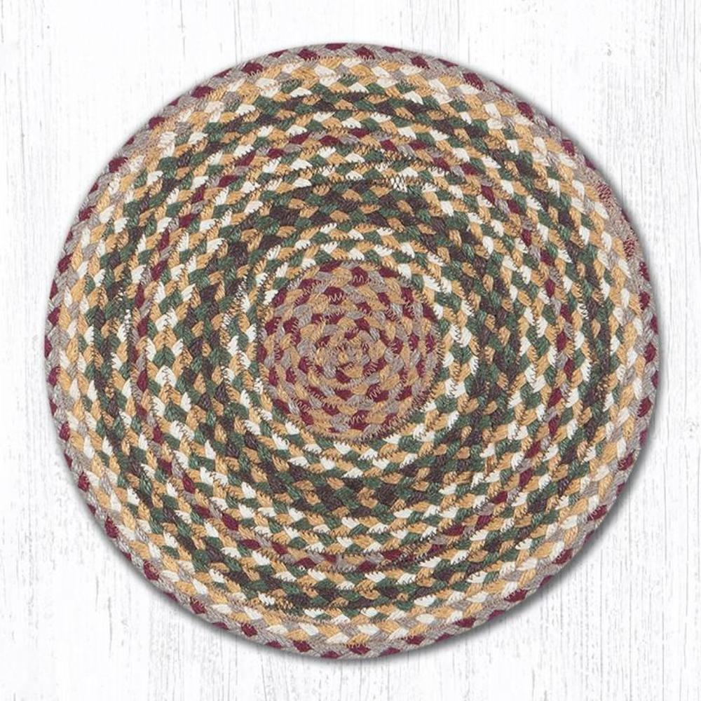 Earth Rug - Braided Round Chair Pad - Olive/Burgundy/Cream - 15.5in