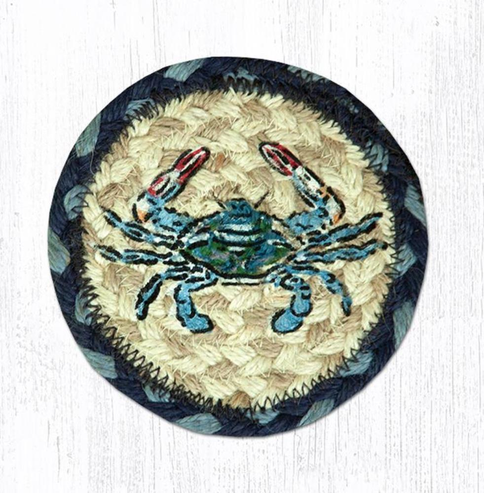 Earth Rug - Braided Round Coaster - Blue Crab - 5in