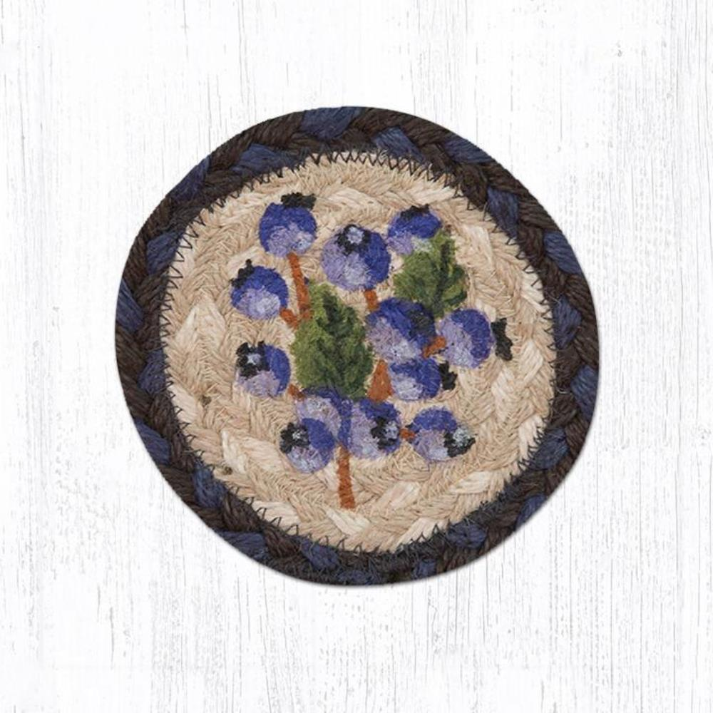 Earth Rug - Braided Round Coaster - Blueberry - 5in