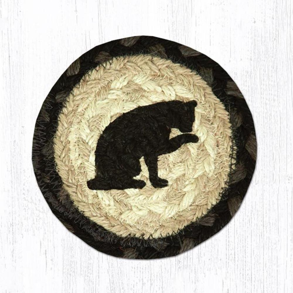 Earth Rug - Braided Round Coaster - Cat Silhouette - 5in