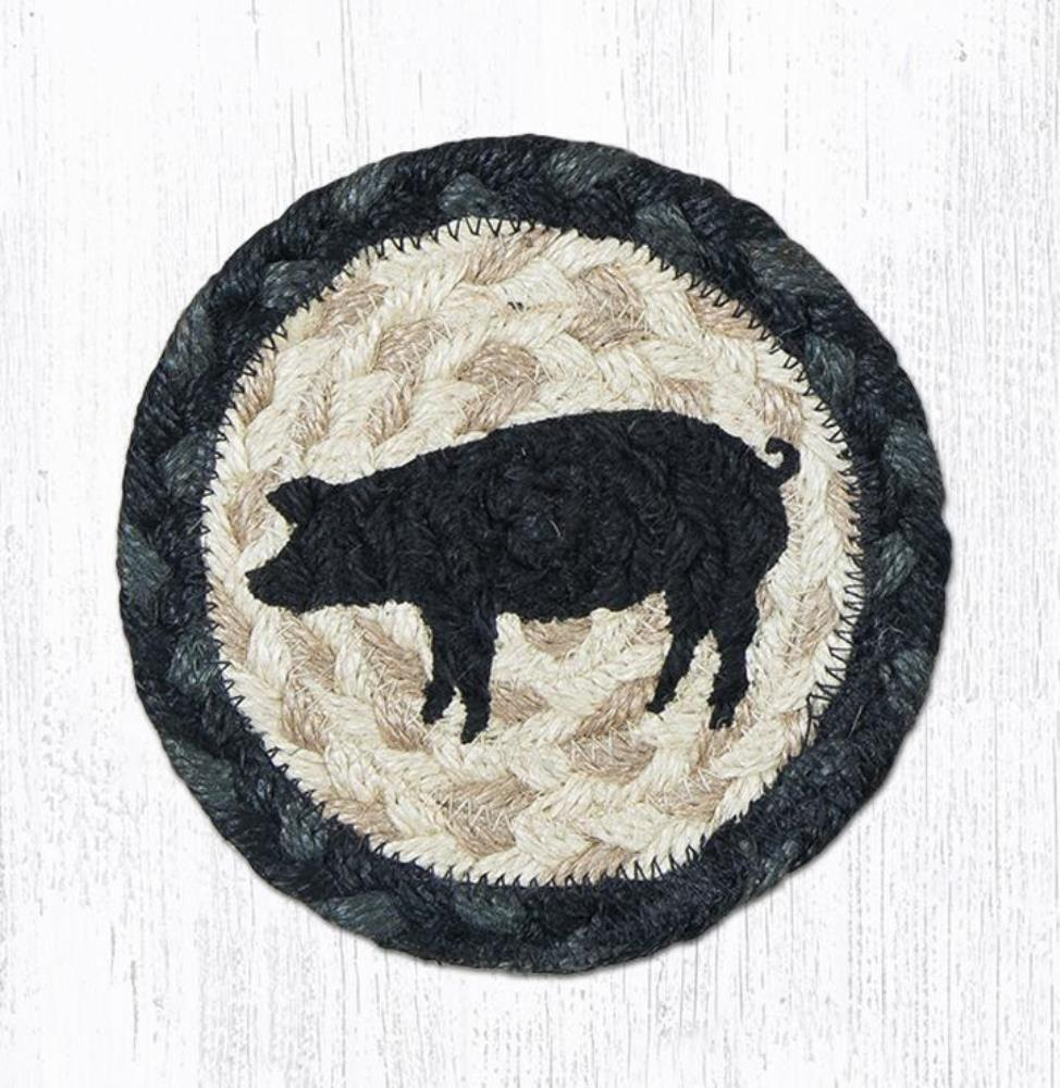 Earth Rug - Braided Round Coaster - Pig Silhouette - 5in