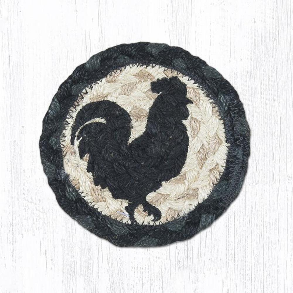 Earth Rug - Braided Round Coaster - Rooster Silhouette - 5in