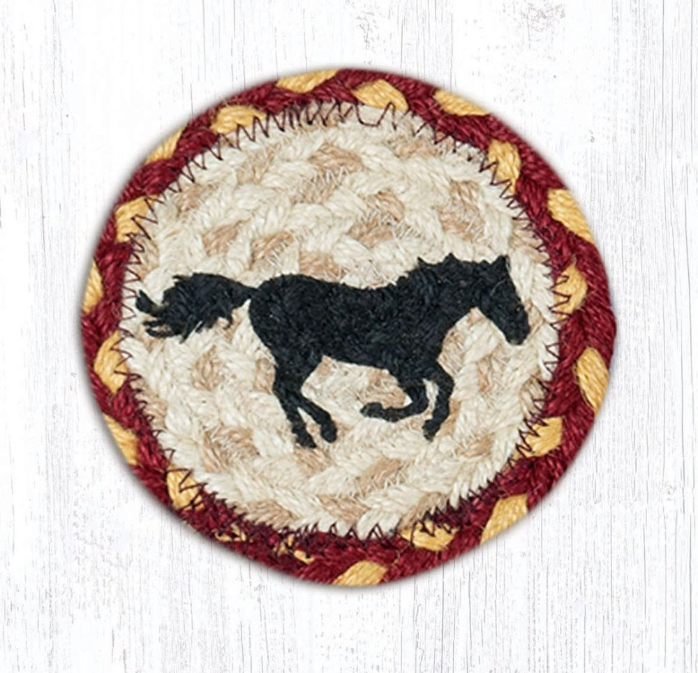 Earth Rug - Braided Round Coaster - Running Horse - 5in