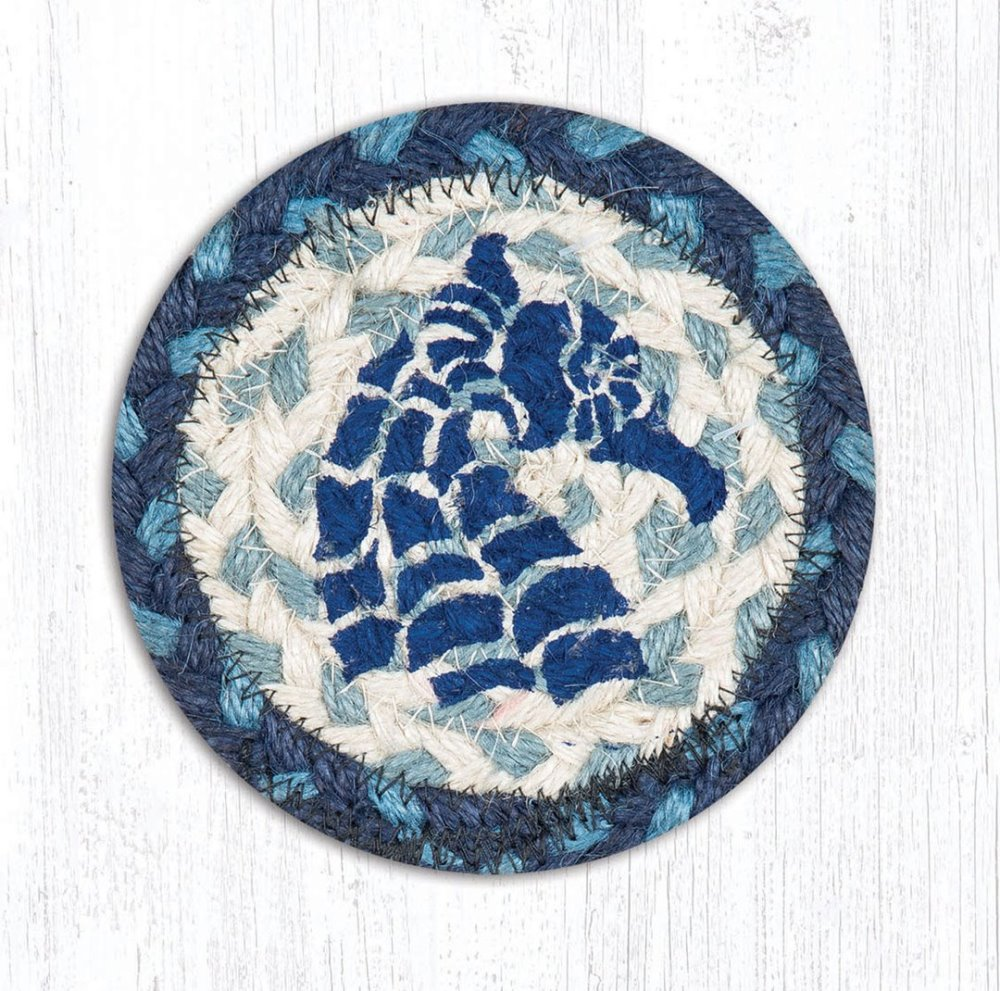 Earth Rug - Braided Round Coaster - Seahorse - 5in