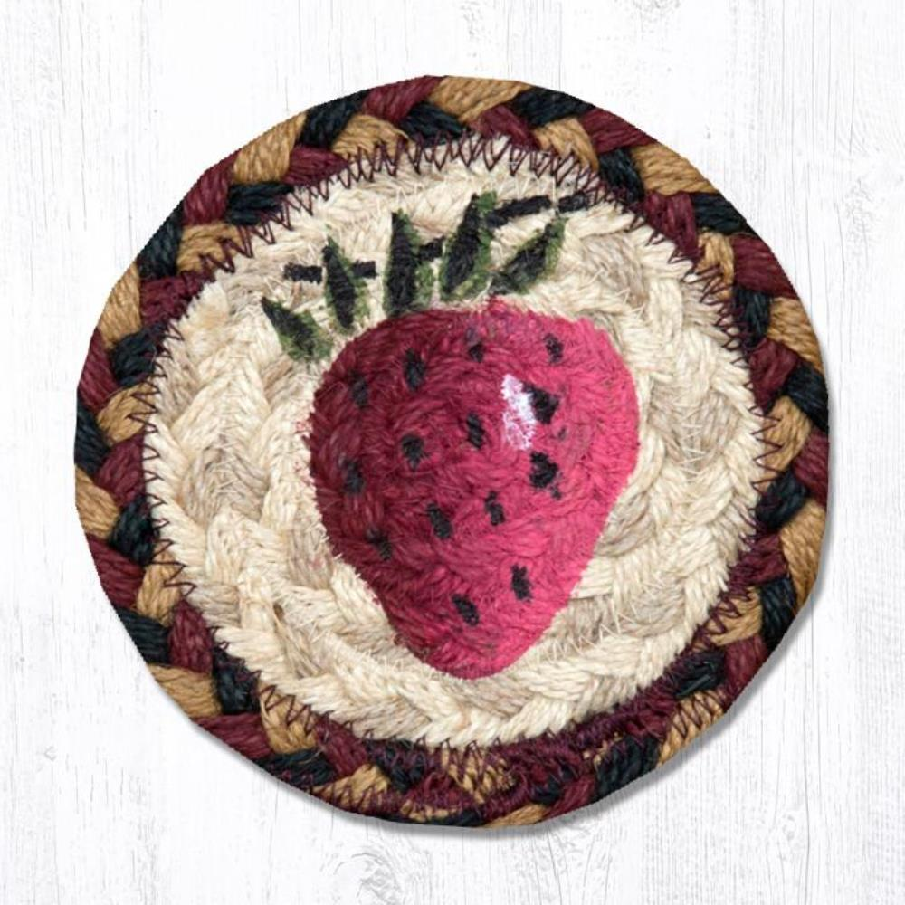 Earth Rug - Braided Round Coaster - Strawberry - 5in