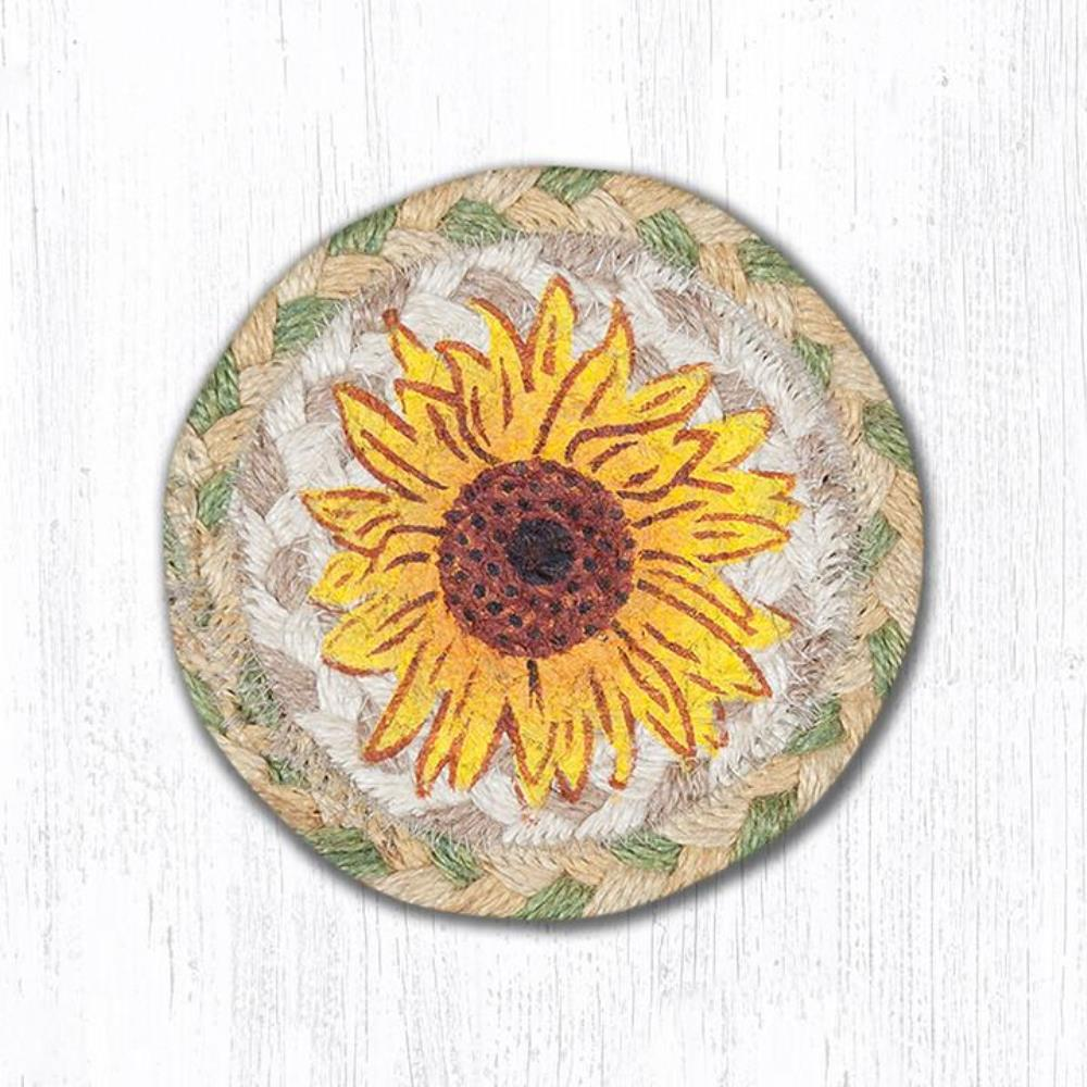 Earth Rug - Braided Round Coaster - Sunflower - 5in