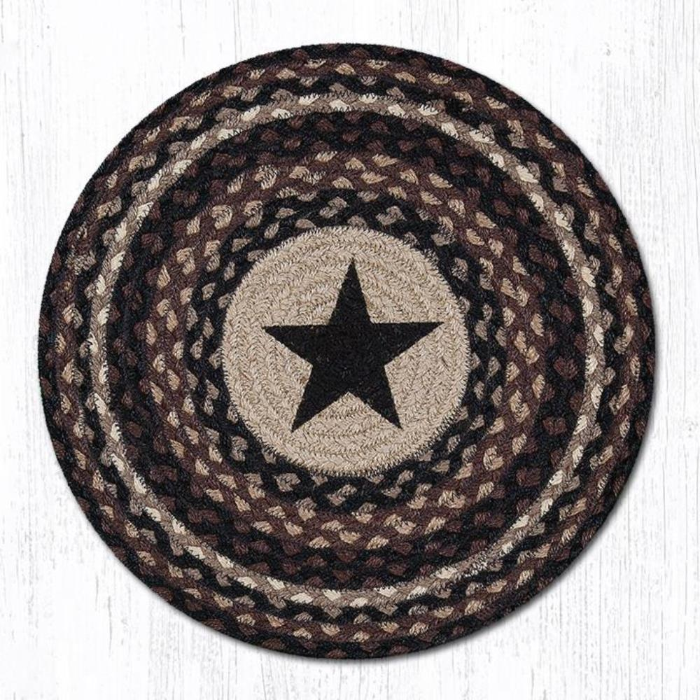 Earth Rug - Braided Round Placemat - Black Star - 15x15
