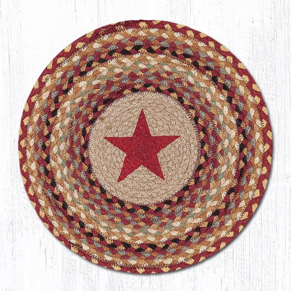 Earth Rug - Braided Round Placemat - Burgundy Star - 15x15