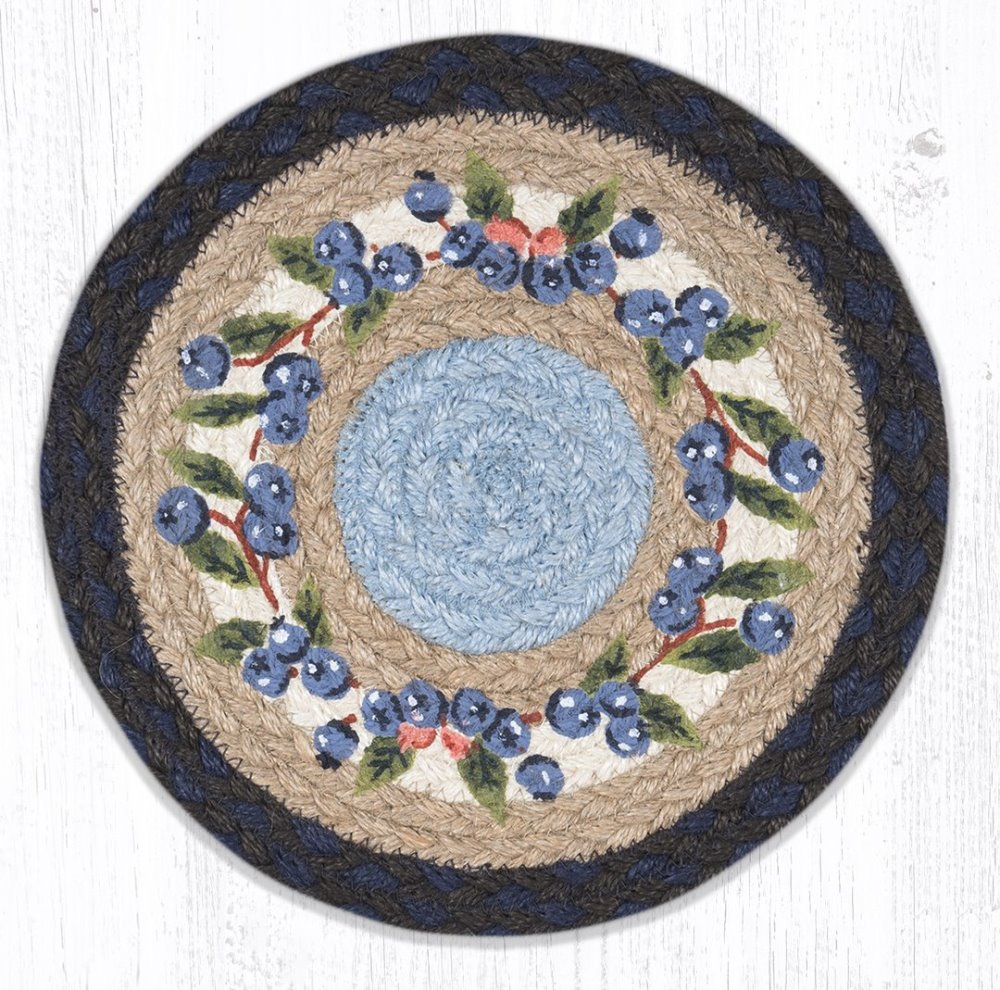Earth Rug - Braided Round Trivet - Blueberry Vine - 10in