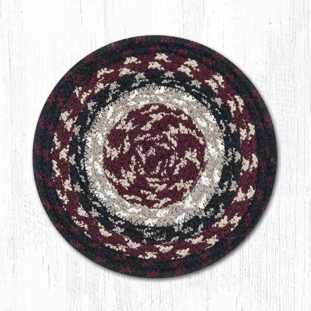 Earth Rug - Braided Round Trivet - Burgundy/Black/Tan - 8in