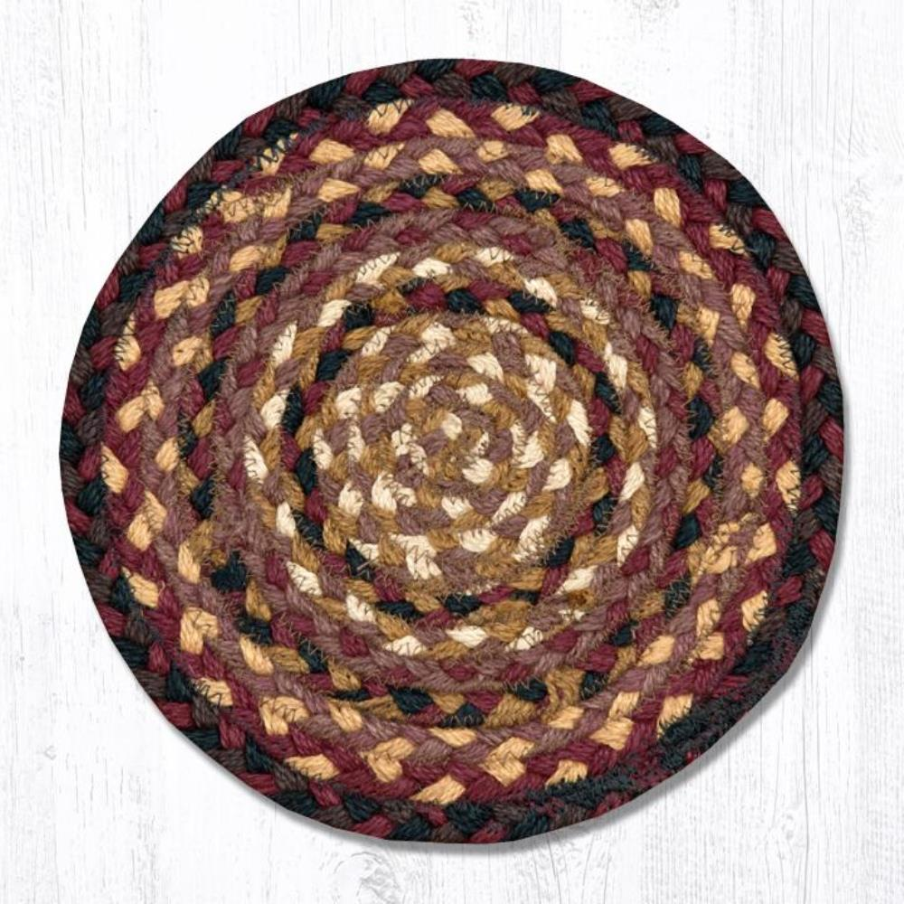 Earth Rug - Braided Round Trivet - Cherry/Chocolate/Cream - 10in