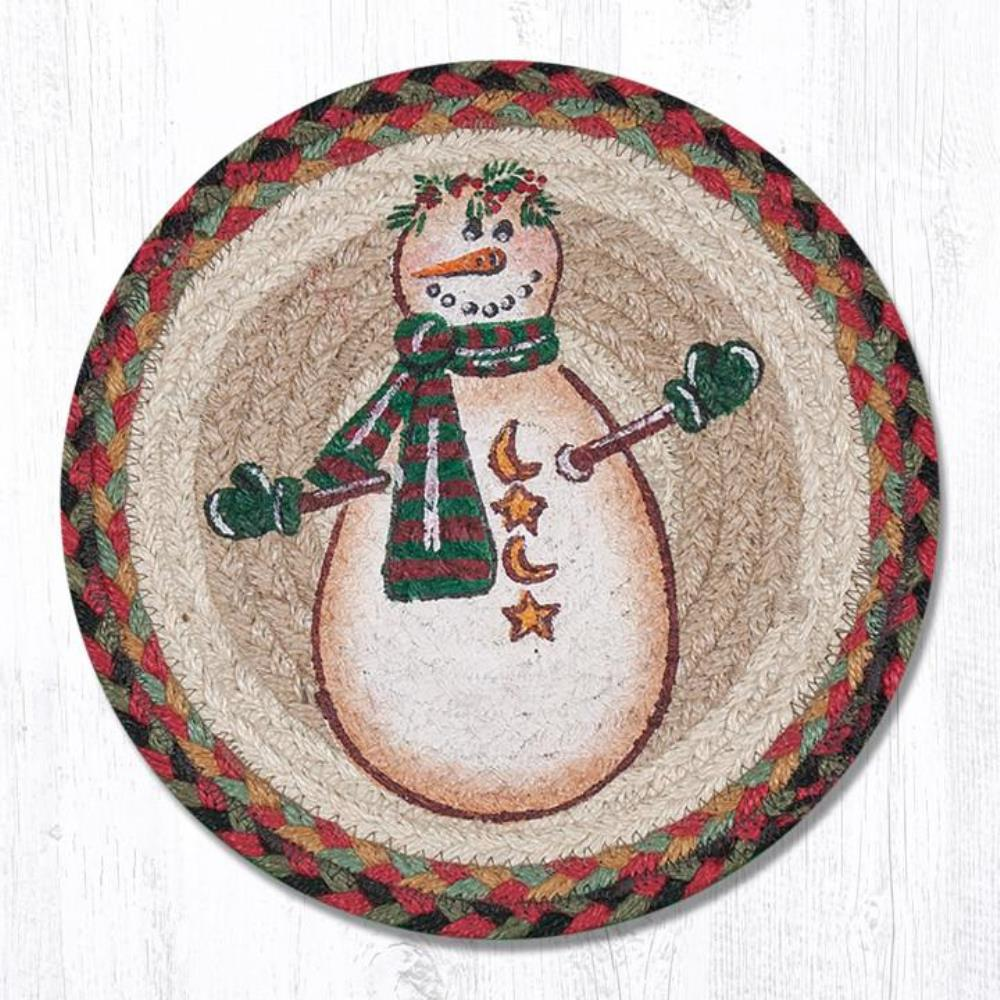 Earth Rug - Braided Round Trivet - Moon & Star Snowman - 10in