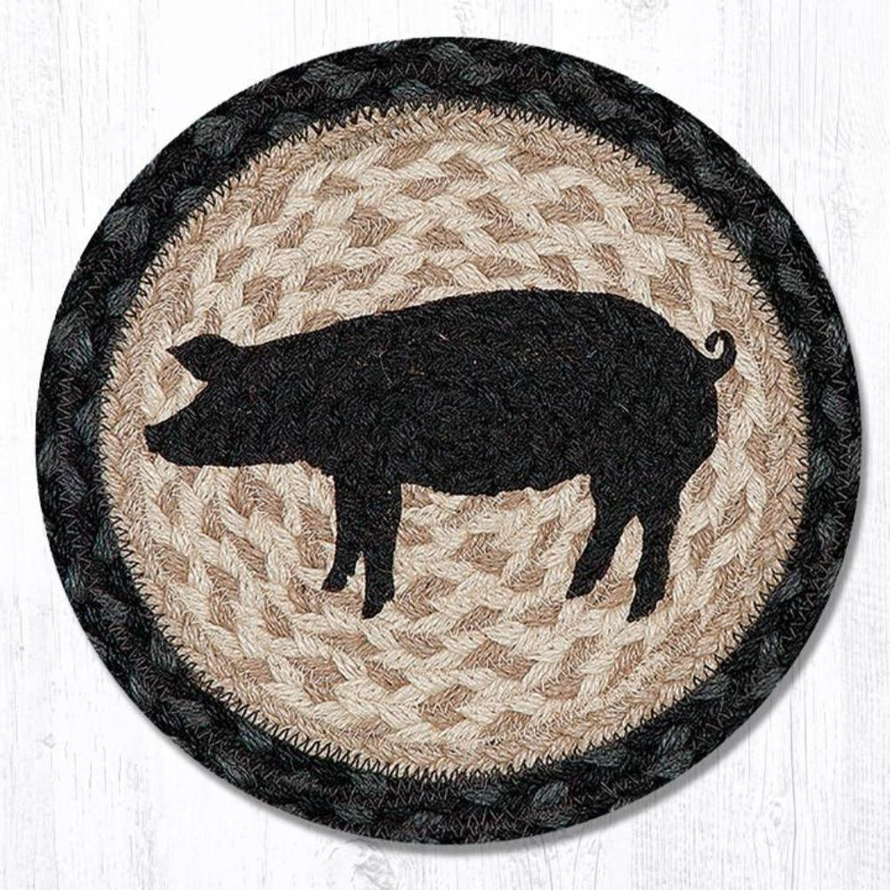 Earth Rug - Braided Round Trivet - Pig Silhouette - 10in
