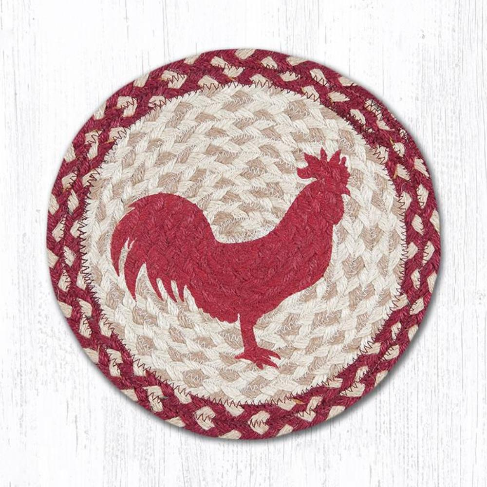 Earth Rug - Braided Round Trivet - Red Rooster - 10in