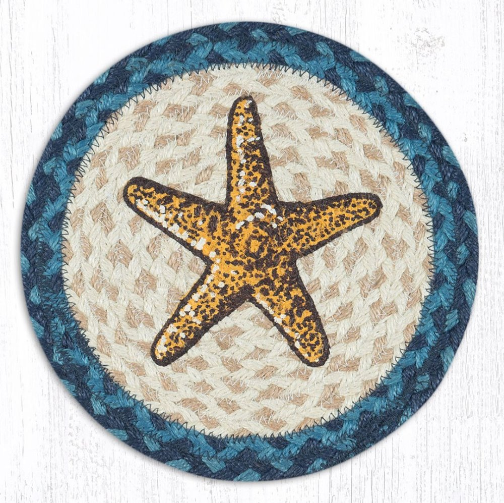 Earth Rug - Braided Round Trivet - Starfish - 10in