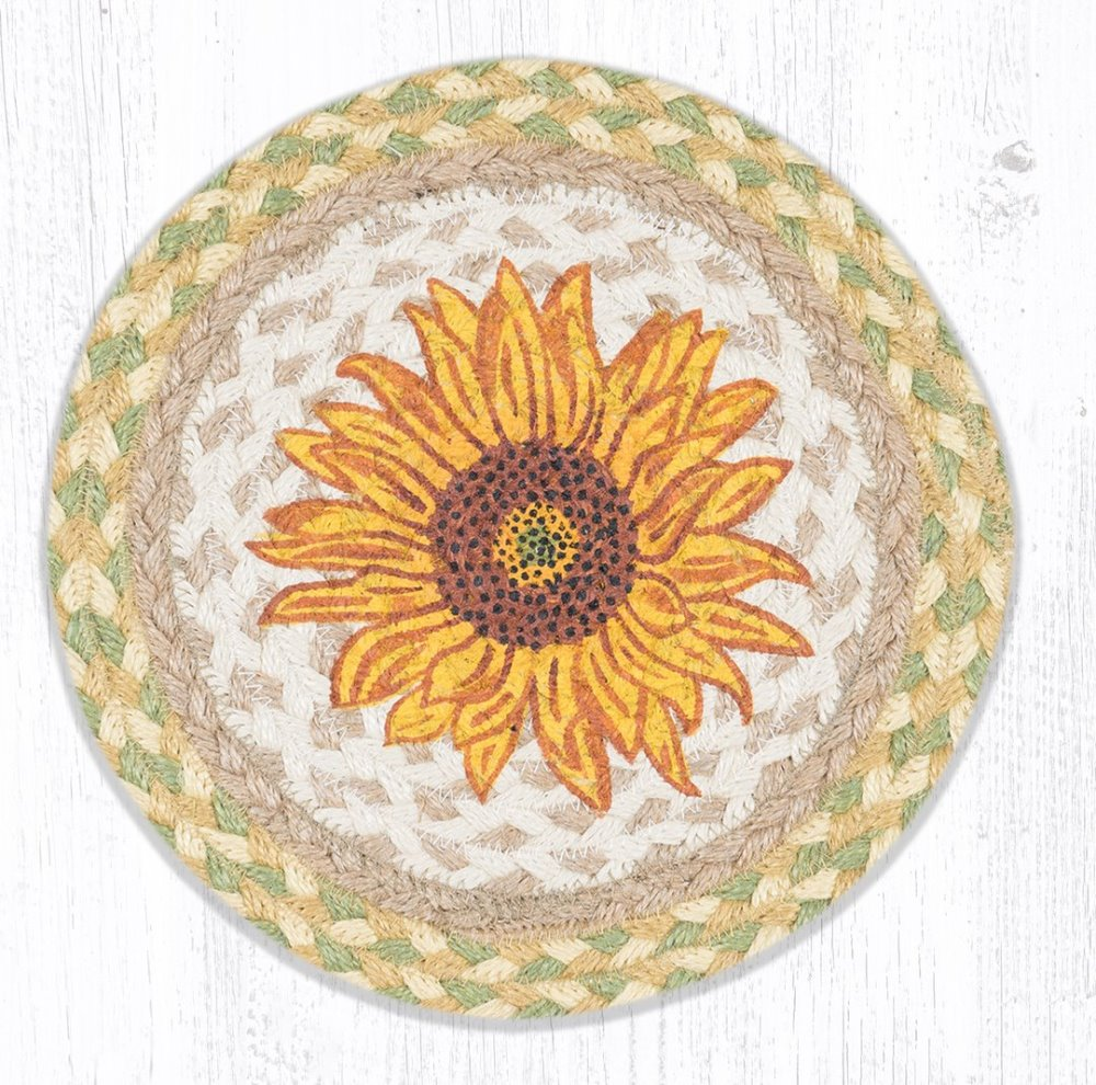 Earth Rug - Braided Round Trivet - Sunflower - 10in