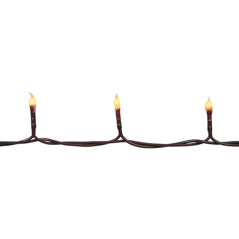 Teeny Bulb String Lights - Silicone Coated - Brown Cord - Set of 140