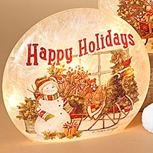 Electric Lighted Frosted Luminary - Glass - Happy Holidays - 9in