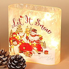 Electric Lighted Frosted Luminary - Glass - Let It Snow Snowman - 6.1in